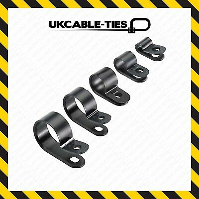 £2.19 • Buy 10x Nylon Black Plastic P Clips - Fasteners For Cable, Conduit, Tubing, Sleeving