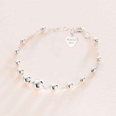 Sterling Silver Charm Bracelet With Engraved Tag For Mum, Daughter, Sister Etc • 22.99£