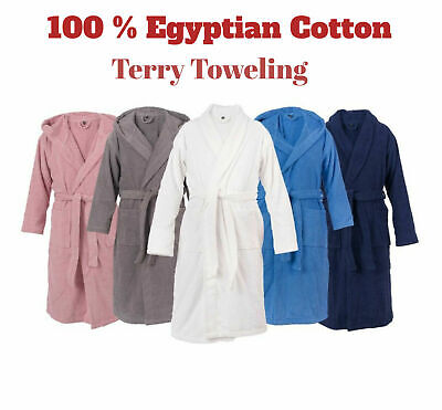 UNI SEX  Combed  Shawl Collar & Hooded Egyptian Bath Robe Terry Towelling Gown • 10.20£