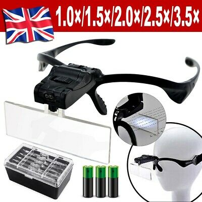 Led Head Magnifying Glasses Headset With Light Hands Headband Free Magnifier • 8.79£