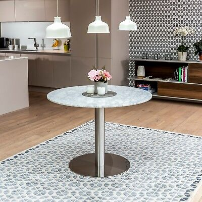 New Carrara Marble White Round Dining Table Chrome Polished Steel - Sets • 475£