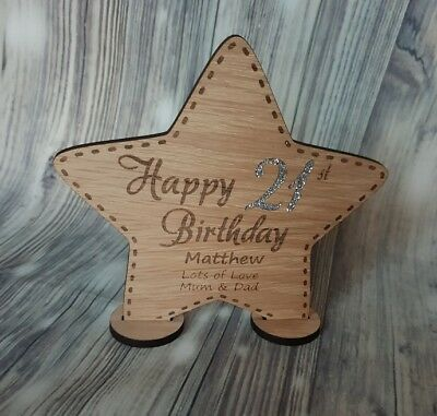 Happy Birthday Star Decoration, Personalised, Wooden Gift • 6.49£