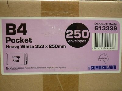 AU51.95 • Buy 250x CUMBERLAND B4 ENVELOPES POCKET STRIP SEAL 100GSM 353 X 250MM WHITE Envelope