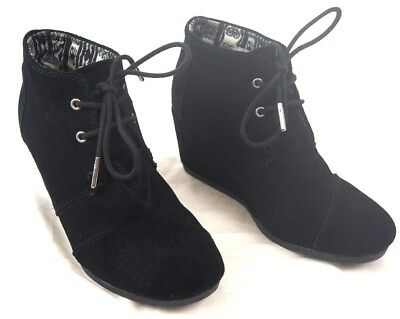 3b5eaa26826f TOMS Desert Wedge High Black Suede Ankle-High Boot - Sz 7M - XLNT •