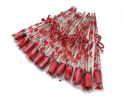 12 Single Red Wooden Roses In Cello Sleeve Tied With Red Ribbon - Valentine's  • 9.99£