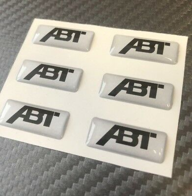 ABT 3D Sticker Badge, Small ABT Decals 6 Pc. 3D Doming Silver • 8.48£