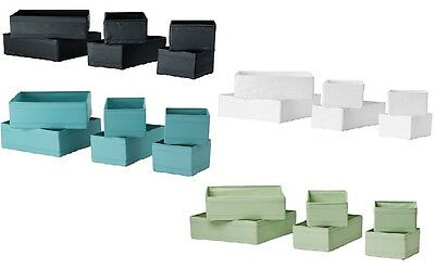 IKEA SKUBB Set Of 6 Drawer Organiser Dividers Boxes Various Colours NEW • 12.99£