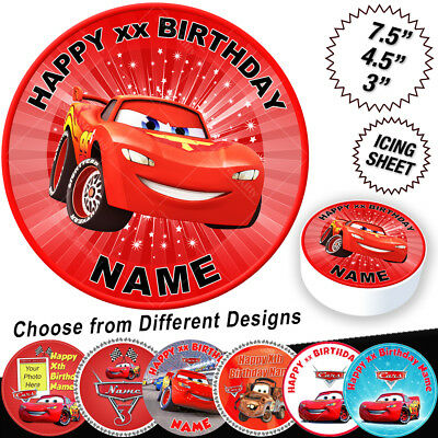 Cars Lightning McQueen Birthday Cake Topper Edible Icing • 6.49£