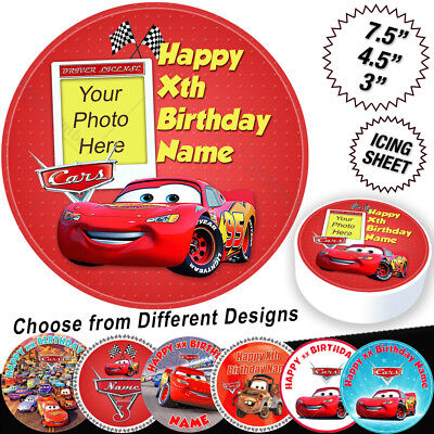 Cars Lightning McQueen Birthday Cake Topper Personalised Edible Icing • 6.47£