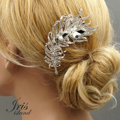 $9.99 • Buy Bridal Hair Comb Clear Crystal Headpiece Wedding Accessories 5358 Feather Silver