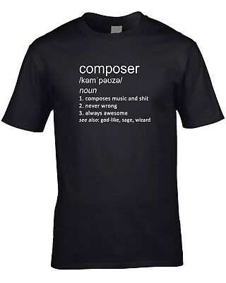 Composer Definition Mens T-Shirt Music Gift Idea Work Job Player Orchestra Cool • 10.95£