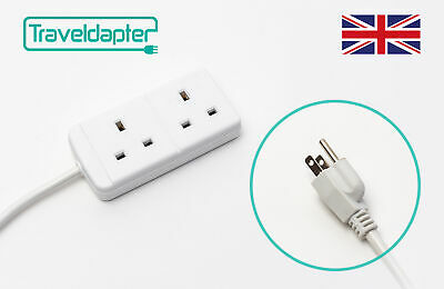 AU28.01 • Buy World Wide Travel Adapter JAPAN Extension Lead Multi 2 UK Plug To 3 Pin 1m