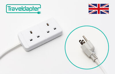 AU26.98 • Buy World Wide Travel Adapter JAPAN Extension Lead Multi 2 UK Plug To 3 Pin 1m