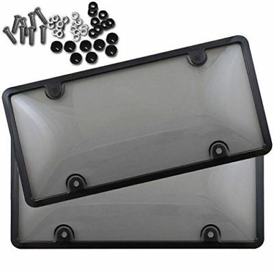 $10.50 • Buy 2x UNBREAKABLE Tinted Smoked License Plate Tag Shield Cover And Frame