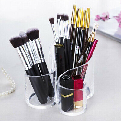 £8.19 • Buy Clear Acrylic 3 Cylindrical Holder Brush Makeup Cosmetic Organizer Stand Box