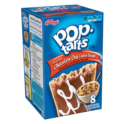 Kelloggs Pop Tarts Frosted Chocolate Chip Cookie Dough -  Box Of 8 - Usa Import • 6.95£