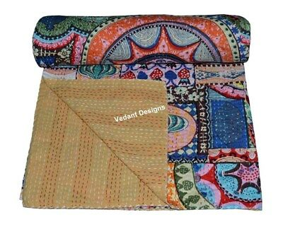 Cotton Kantha Quilt Bedspread Blanket Throw Indian Twin Size Floral Patchwork • 25.03£