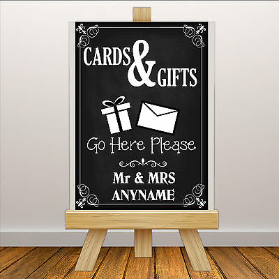 Personalised Wedding CARDS & GIFTS Sign Banner Print N114 Chalkboard Style • 2.99£