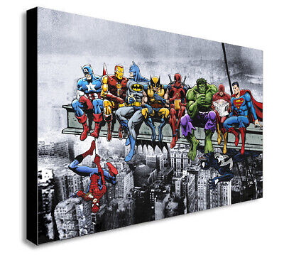 £13.99 • Buy DC MARVEL Super Hero Lunch Atop Skyscraper Canvas Framed Wall Art -Various Sizes