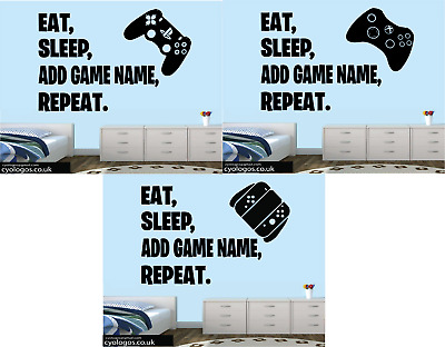 £5.99 • Buy PS4 XBOX SWITCH CONTROLLER   EAT SLEEP GAME REPEAT STYLE  Wall Sticker Decal
