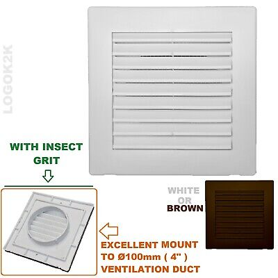 Louvre Air Vent Grille Cover With Aesthetic Frame FIT 4  Circle Duct Ventilation • 4.99£