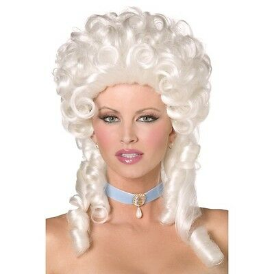 Womens Baroque White Wig W Ringlet Curls Fancy Dress Court French Cinderella • 14.92£