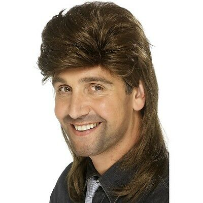 Men's Brown Mullet Fancy Dress Wig Long Hillbilly Country Music 1980's Rock Stag • 13.67£
