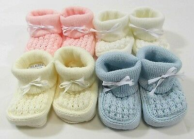 Baby Booties Boots Socks Shoes Knit Bow Slip On Pink Blue Cream White NB 0 6 45 • 1.25£