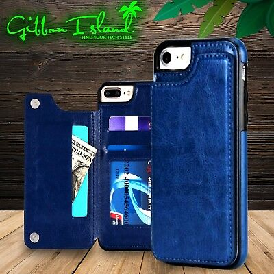 AU39.95 • Buy Iphone X Leather Wallet Blue Case 3-card Holder With Glass Screen Protector