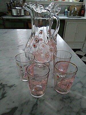 $32 • Buy Antique Hand-painted Ruffled Rim Glass Pitcher And Four Tumblers, Floral, Gilt