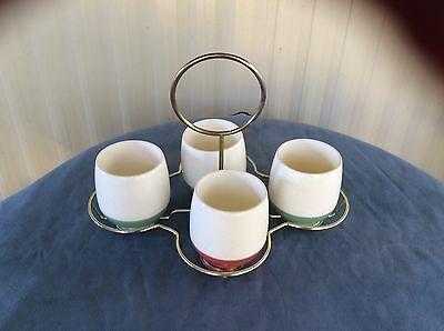 $29.95 • Buy Set Of 4 Bopp-Decker Vacron Cups Mugs1 Corral Pink, 3 Green 60s Vintage W/Tray