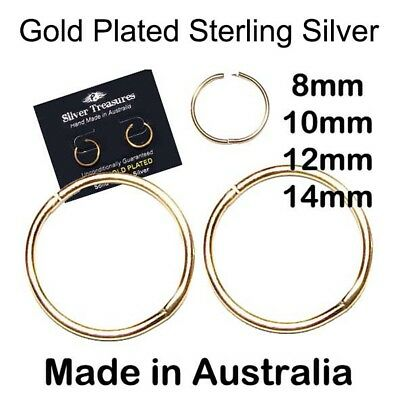 AU15.95 • Buy 22ct Gold Plated Sleepers On Sterling Silver 8mm 10mm 12mm 14mm Aussie Made