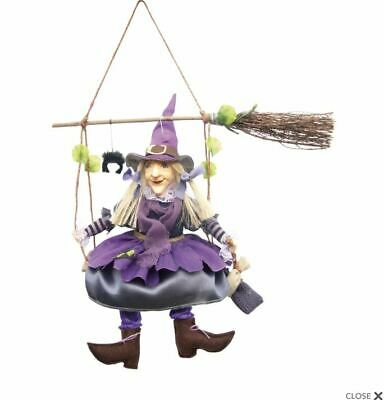 Witches Of Pendle *olivia* Purple Hanging From  Broomstick 24cm Info Book Occult • 21.50£
