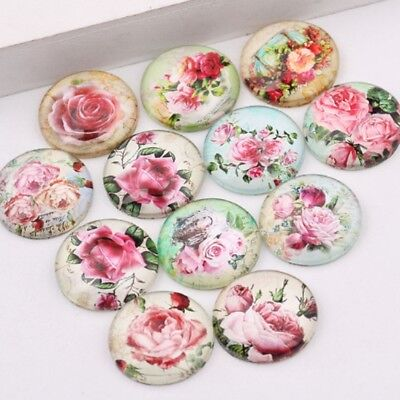 £2.95 • Buy 10 Pink Rose Flower Cabochons Mixed Round Glass Cabochon Flat Back 10mm 20mm