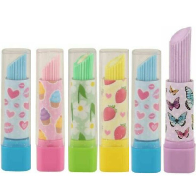 6 X Lipstick Erasers Rubbers Girls Kids Party Loot Bag Fillers School Stationery • 2.99£