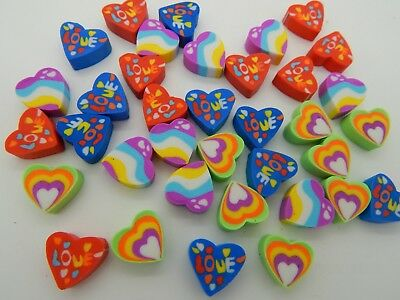 36 Mini Heart Shaped Love Unicorn Erasers Rubbers Party Bag Gift Eraser Novelty • 2.49£