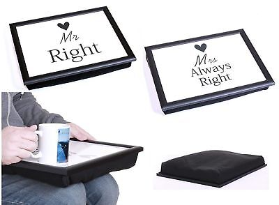 Mr Right & Mrs Always Right Bean Bag Padded Cushion Lap Tray Set Serving • 10.99£