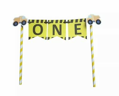 AU12.95 • Buy Construction Party Trucks 1st Birthday Bunting Banner Cake Topper Favours