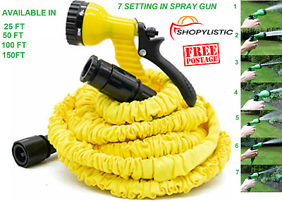 Retractable Expandable Magic Stretch Garden Hose Water Pipe Spray Gun Nozzle New • 9.99£