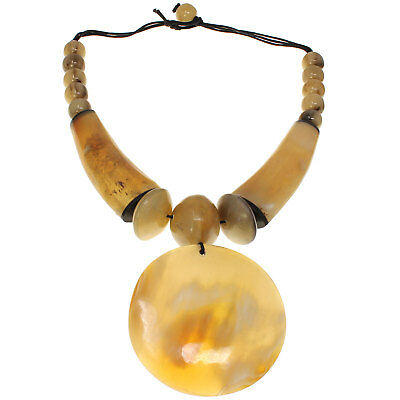 £24.99 • Buy Tribal African Jewelry Natural Buffalo Horn Beige Huge Pendant Choker Necklace