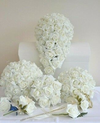 £15.55 • Buy Wedding Bouquet Posy Flowers. Buttonhole, Grooms Corsage, Flower Girl Bag / Wand