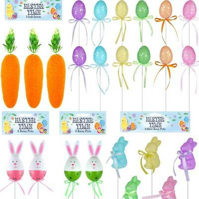 Easter Arts Craft Decorations Egg Hunt Carrots Glitter Bunny Rabbit Pick Set UK • 2.59£