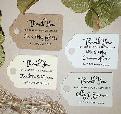 Personalised Name/Date Wedding Favour Tags Small Thank You Sharing Special Day  • 2.50£