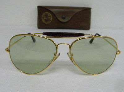 a474773130601 Vintage B L Ray Ban Outdoorsman II Tortuga Brow Changeable Green 62mm  Sunglasses • 399.99
