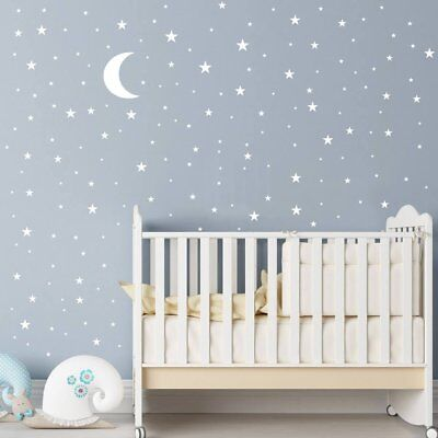 150+  Moon And Stars Wall Decal Vinyl Sticker For Kids Boy Girls Room Decoration • 7.49£