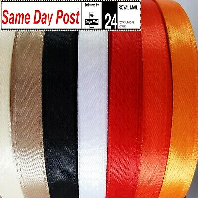 Satin Ribbon 10mm Wide X 50 Meters For Craft Trim Decorations Wrapping Gifts • 1.99£