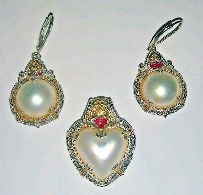 $299.99 • Buy Michael Valitutti White Mabe Pearl Heart Sterling Silver Pendant And Earrings