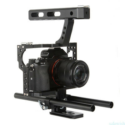 $ CDN82.32 • Buy 15mm Rod Rig Video Cage Kit & Handle Grip For Sony A7 A7R A7S A7RII A6300 A6000