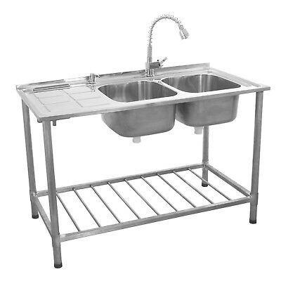Catering Sink Stainless Steel Double Bowl Commercial Kitchen Left Hand Drainer • 269.99£