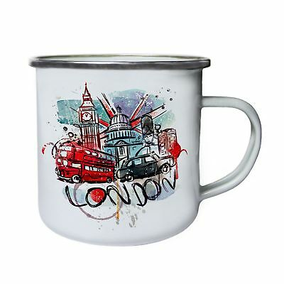 I Love UK London Travell Retro,Tin, Enamel 10oz Mug Aa900e • 18.49£